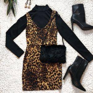 Cheetah print mini bodycon dress